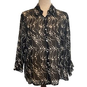 Nicola Sheer Button Down Blouse with Bell Sleeves